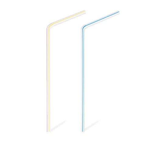 Slámky (Brčka) Flexi Barevné/Pruhované 24cm x 5mm (250ks)