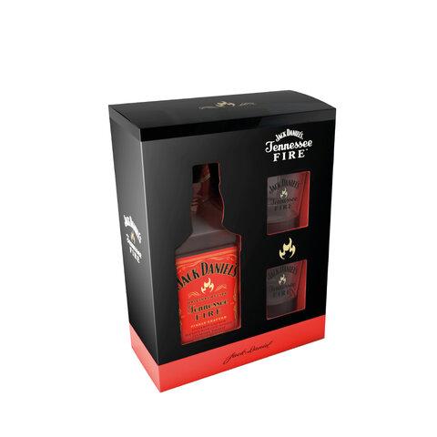 Jack Daniels Fire 35% 0,7l Dárková Kazeta + 2x Sklo