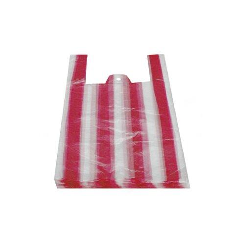 Tašky 4kg Pruhované Červené 24+11x44cm (100ks)